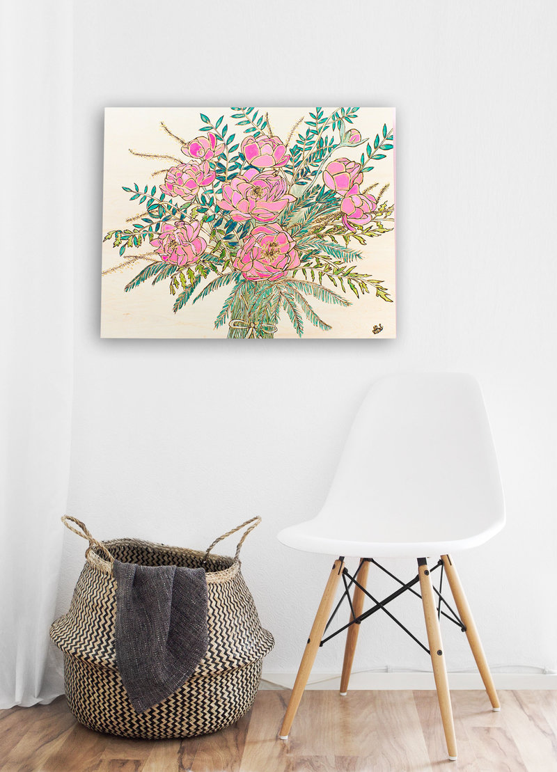 Pink peony wood burned bouquet on modern white wall