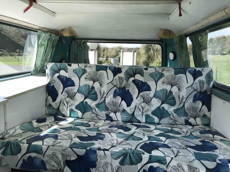 Inside view of seating different viewpoint of Rhonda, teal retro kombi van from NZ Kombi Hire