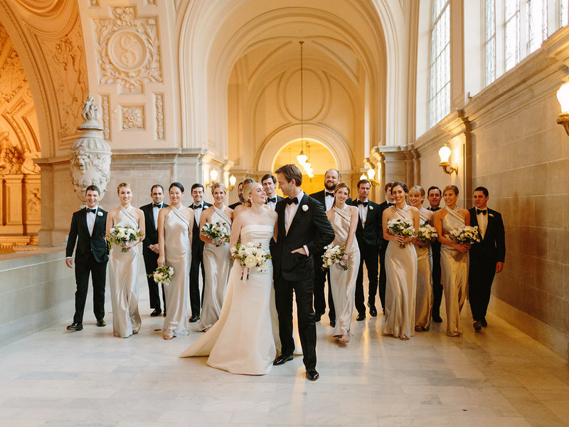 Bridal party for wedding by Jenny Schneider Events at the San Francisco City Hall. Photo by Larissa Cleveland Photography.
