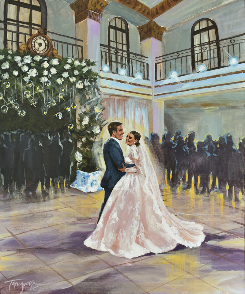 Torregrossa Fine Art original live wedding painting by Stephanie Torregrossa Gaffney 2018 New Orleans