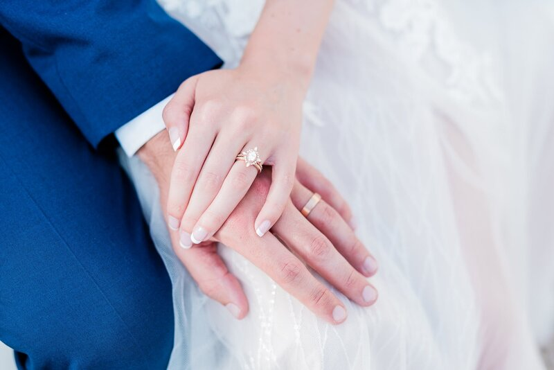 Dallas bride and groom holding hands