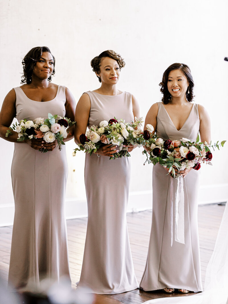 Small bridal party during wedding ceremony