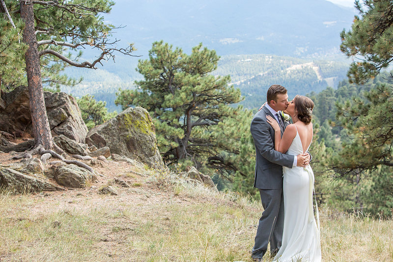 Colorado mountain wedding photographer with Ashley & Ryan in Golden, CO