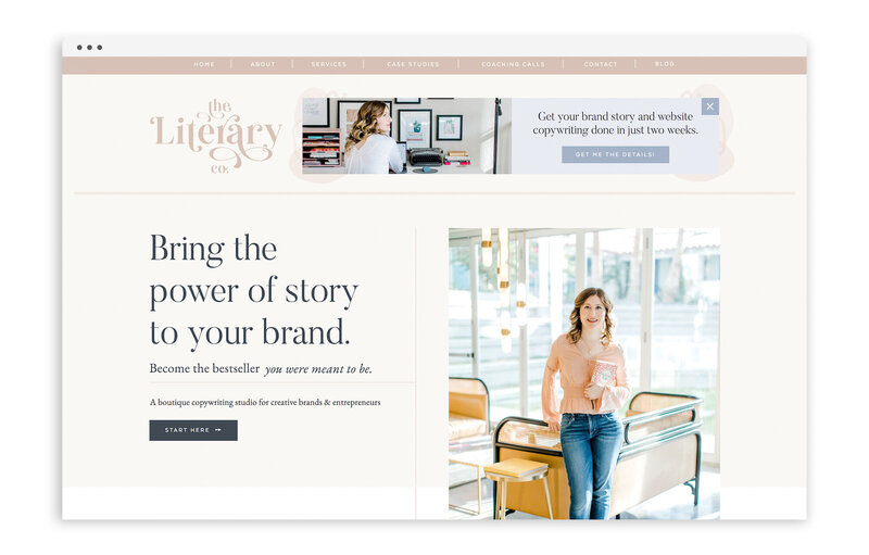 The Literary Co by Kayla Dean Copywriting - Custom Brand and Showit Website Design by With Grace and Gold - 3