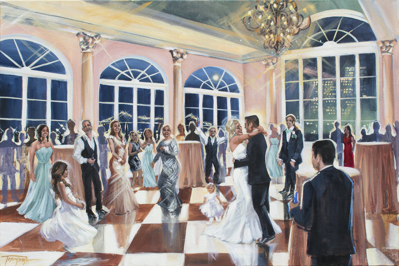 Torregrossa Fine Art original live wedding painting by Stephanie Torregrossa Gaffney 2018 New Orleans  Marche wedding