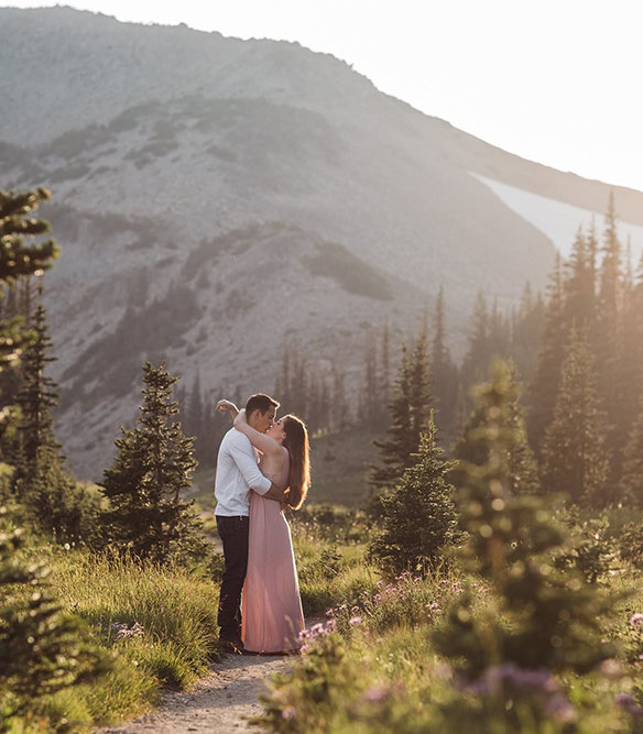 mt rainier national park engagement session on a trail photographed by pnw elopement photographer amy galbraith