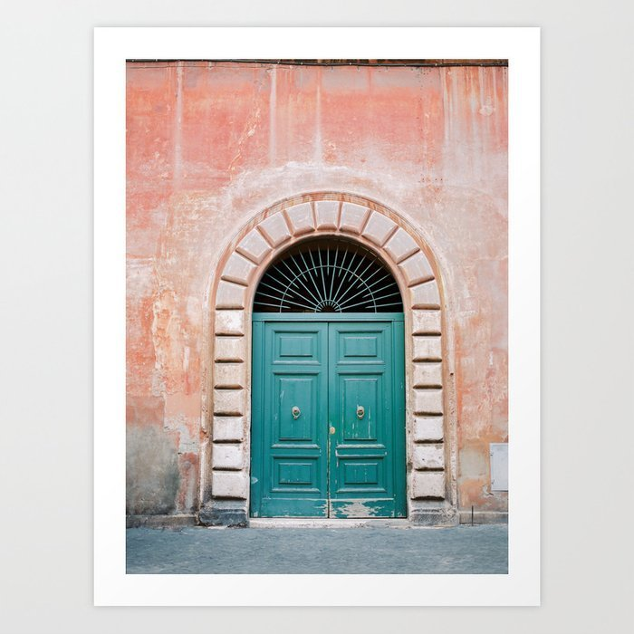 turquoise-green-door-in-trastevere-rome-travel-print-italy-film-photography-wall-art-colourful-prints-2
