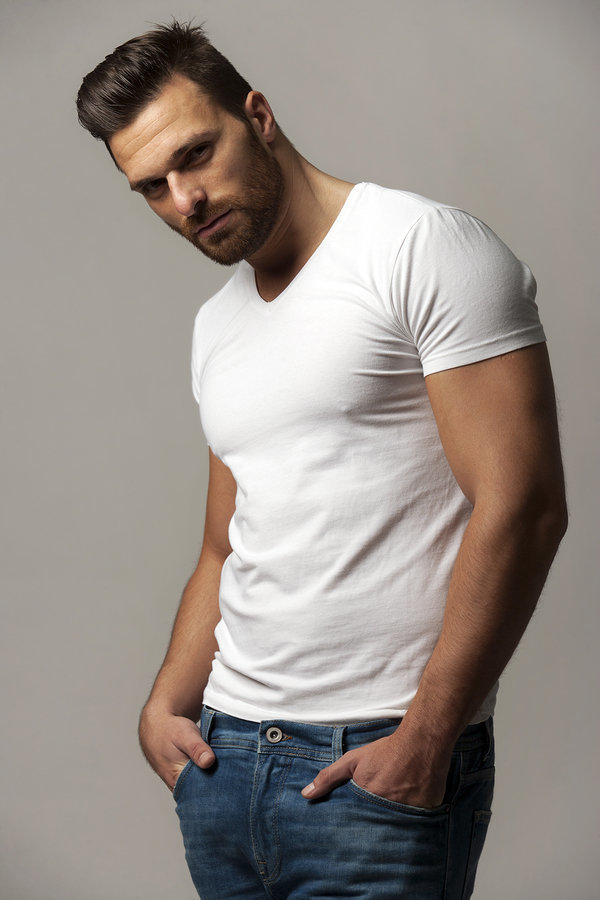 stock photo - hot guy white tshirt and jeans