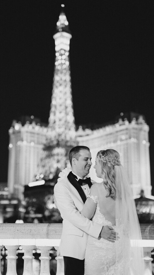 Romantic moment couple dance Paris Tower Las Vegas