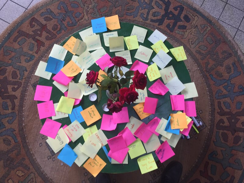Various colour post it notes laid out around a round table