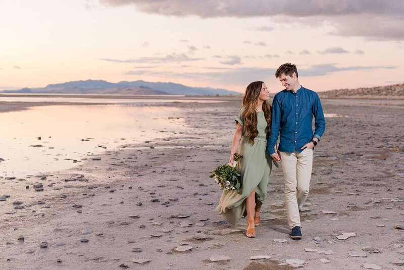 Sunset at Antelope Island during engagement session