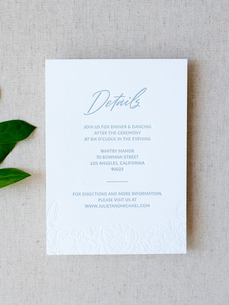 Wild Bouquet Semi-Custom Invitation Collection Details Card