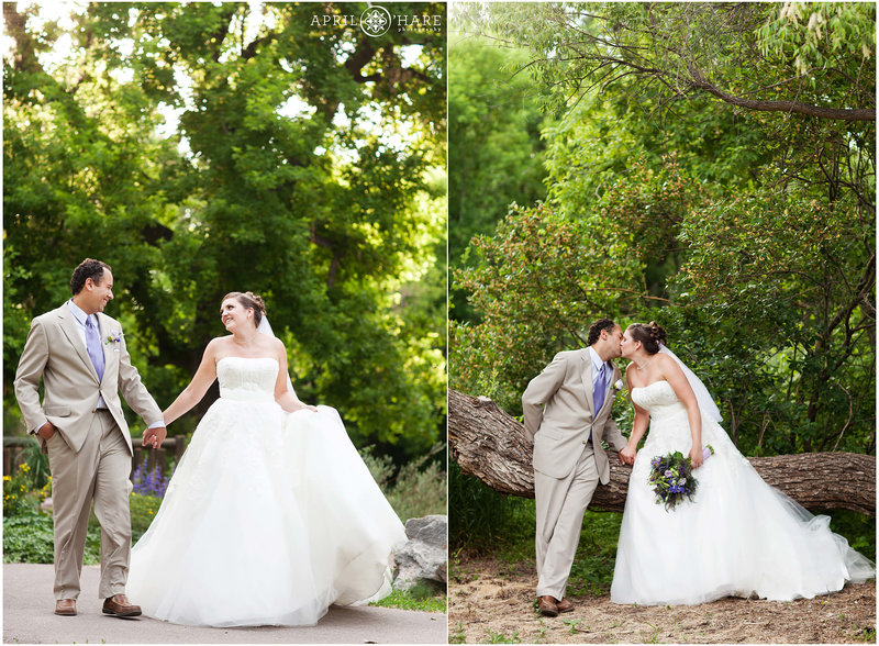 Wedding portraits in the trees at Chatfield Farms  Botanic Gardens