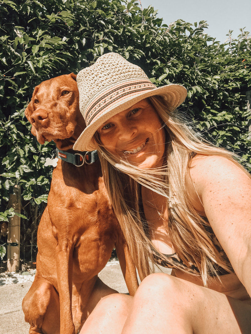 Meet KT Chaloner and her dog. Creator of the Wellness Warrior Blog