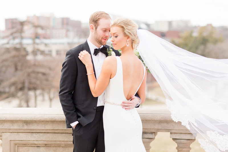 Bride and Groom Portrait in Downtown Iowa City | Megan Snitker Photography | Iowa City Wedding Photographers