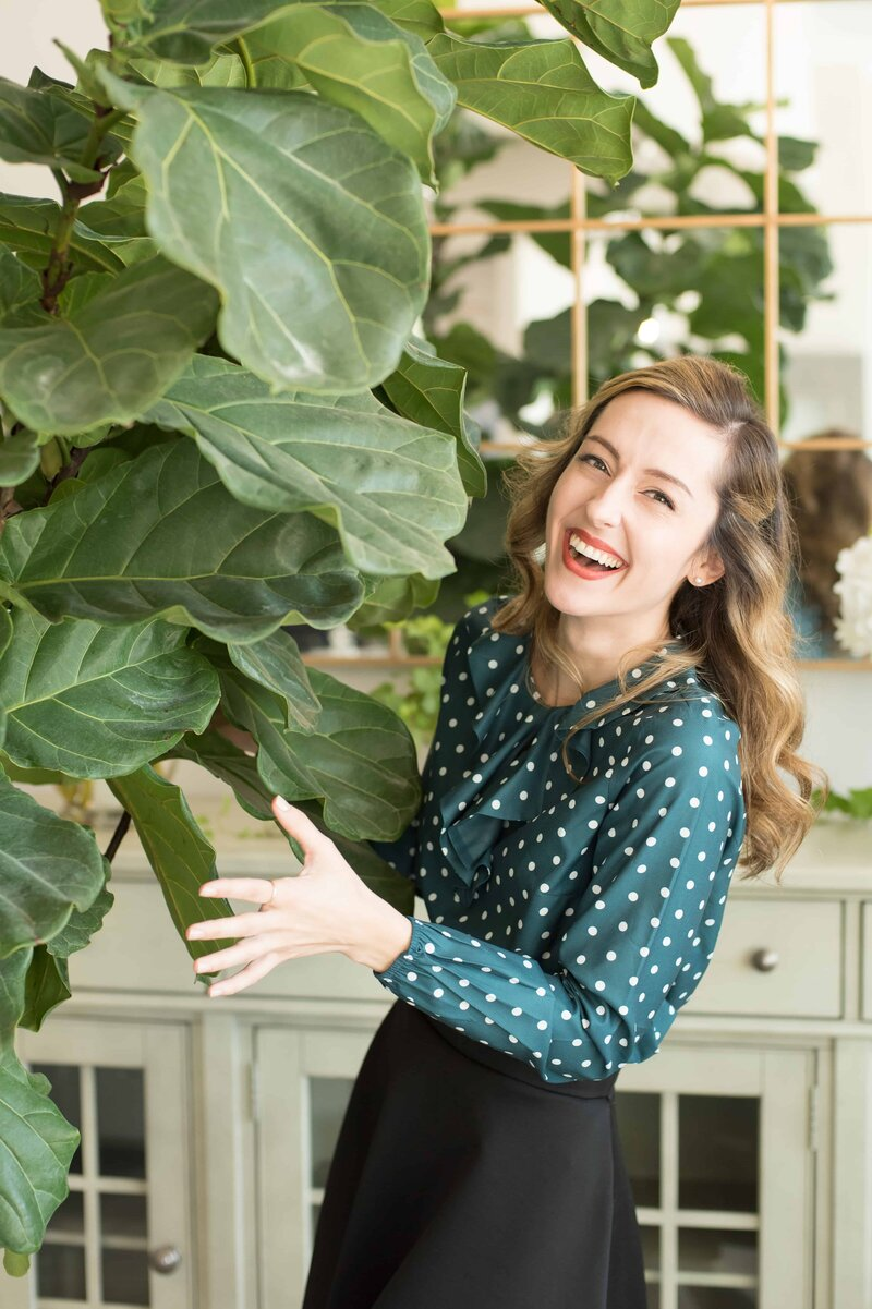 Frisco cosmetic dentist with fiddle leaf fig tree in background high end family friendly