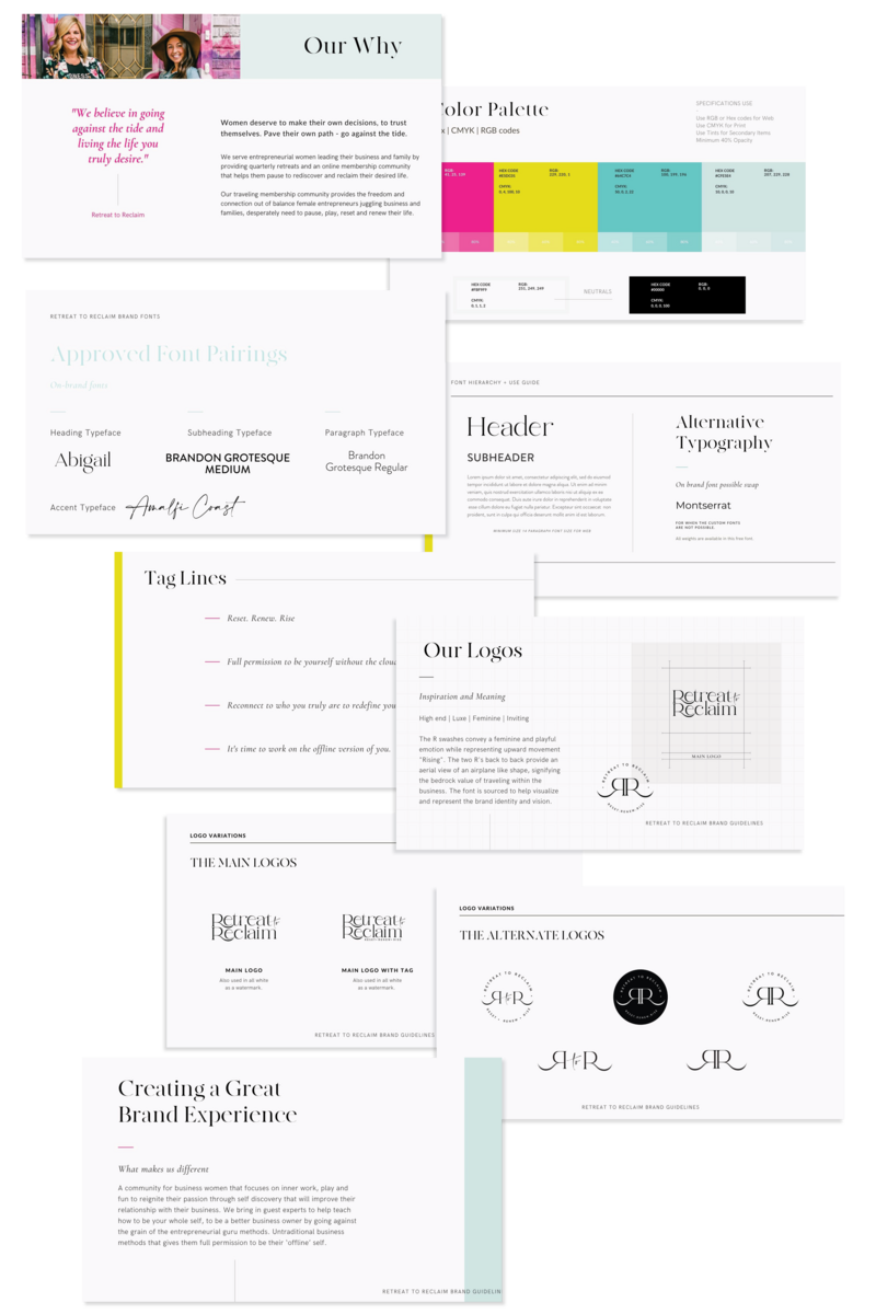 Brand identity design, logo suite, colors. typography guide
