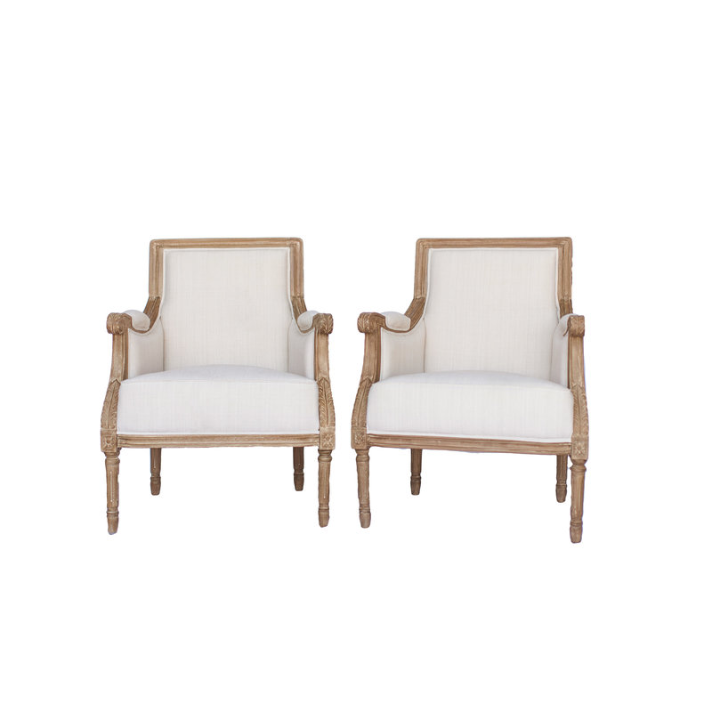 Cream linen fabric with light wood frame.