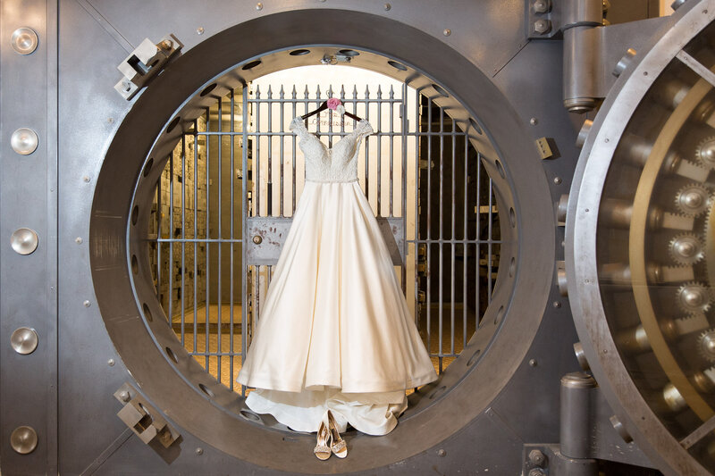 wedding dress hung in old bank safe at cityflats port huron