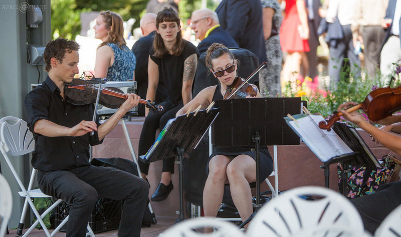 Musicians play at Denver Botanic Gardens Outdoor Wedding in Colorado