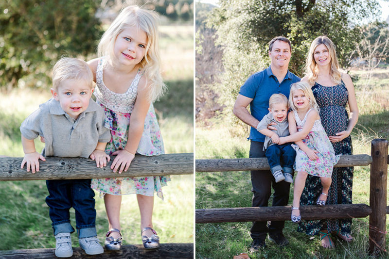 family posing for portraits in a green field in agoura hills