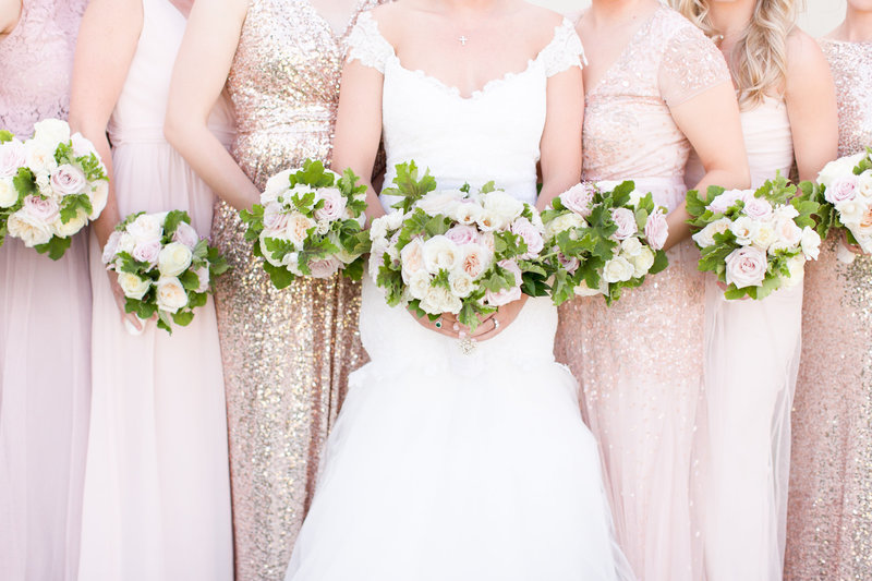 Blush McCormick Ranch Golf Club Bridesmaids Bouquets | Amy & Jordan Photography
