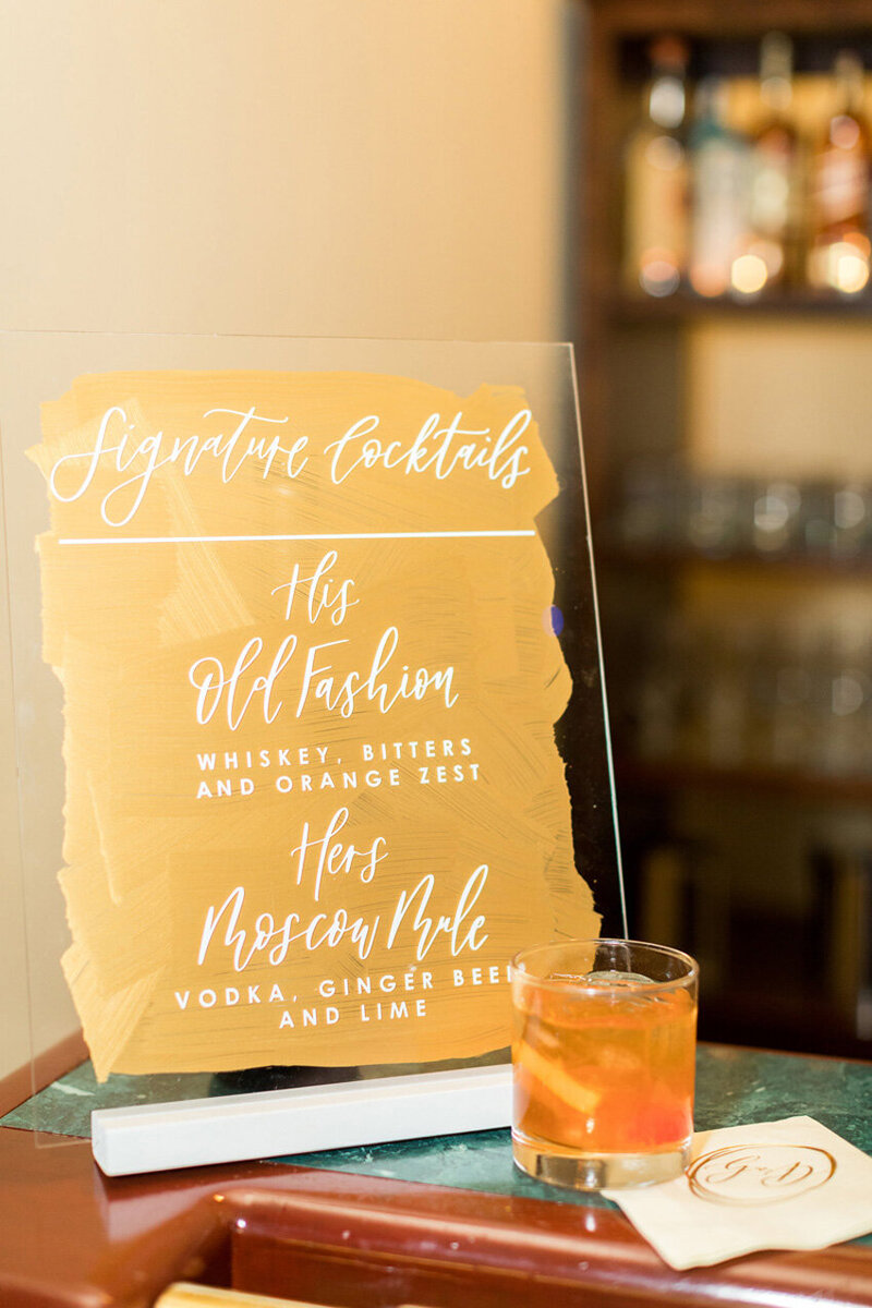 pirouettepaper.com | Wedding Stationery, Signage and Invitations | Pirouette Paper Company | Bar Signs and Bar Menus | Watercolor Signature Drinks 25