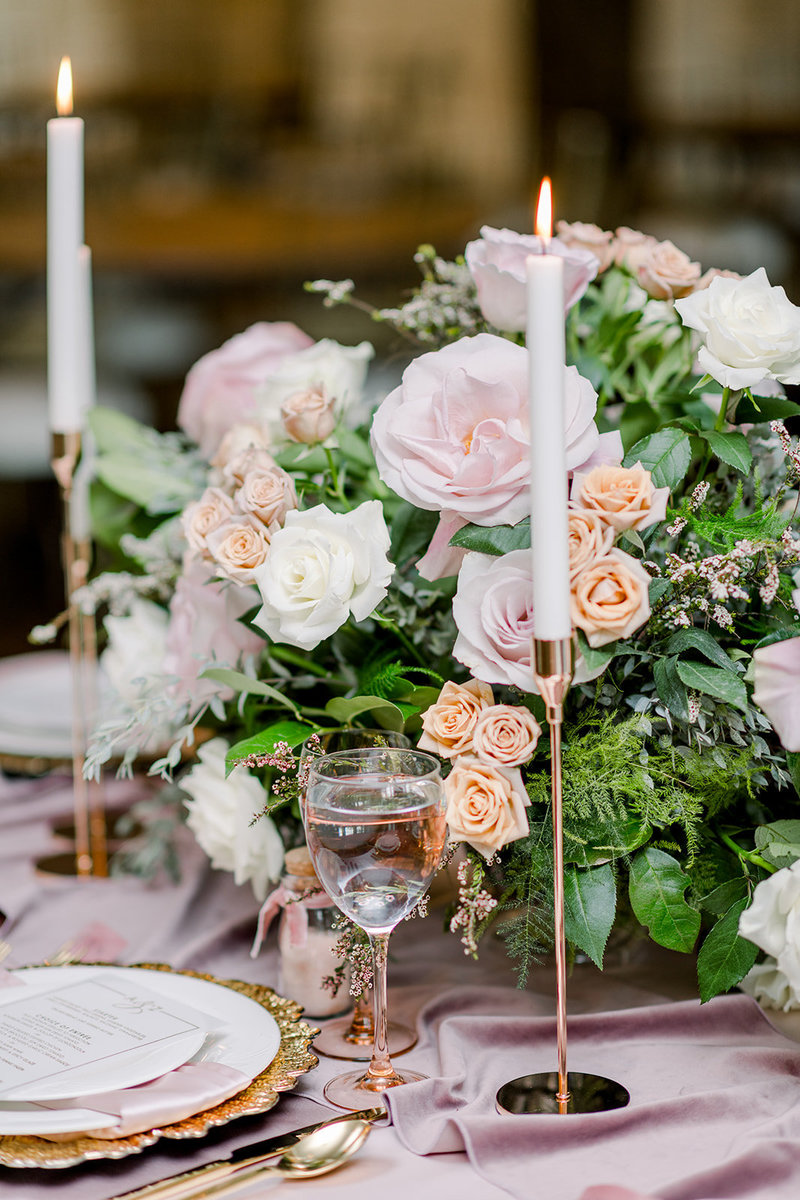 Blush and gold centerpiece, roses and soft airy greenery