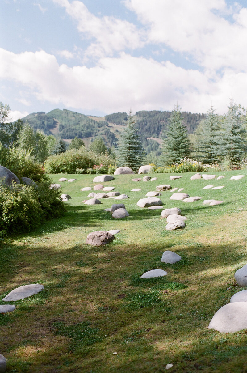 Grass field with many boulders, blue sky in the background