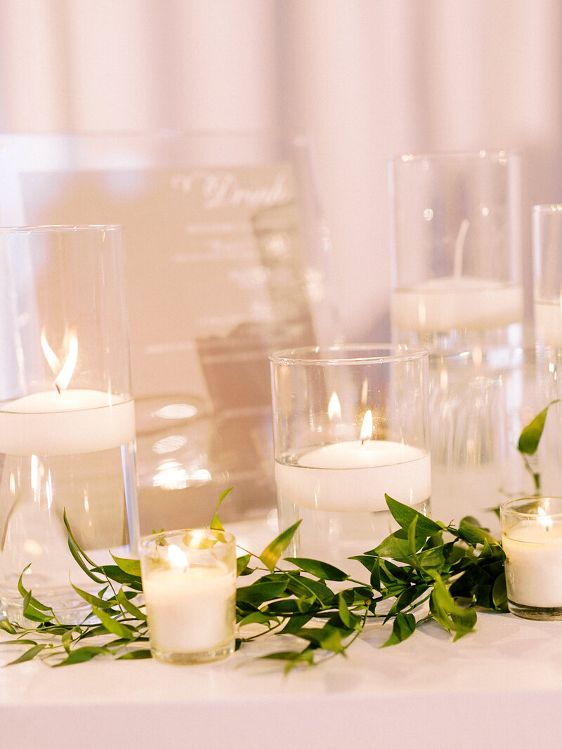 Candles to set the mood at art museum wedding