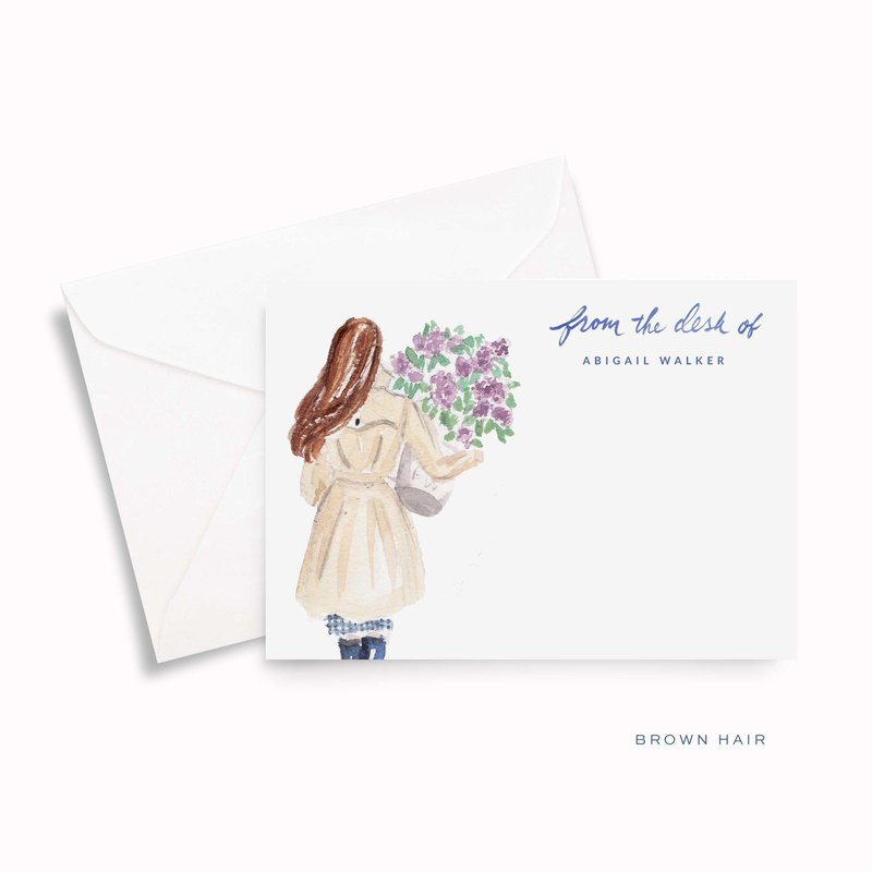 lilac girl spring watercolor personalized stationery brown hair