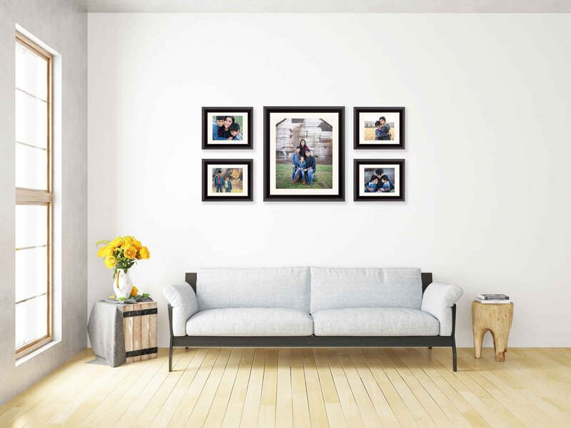 5 image gallery wall in a room