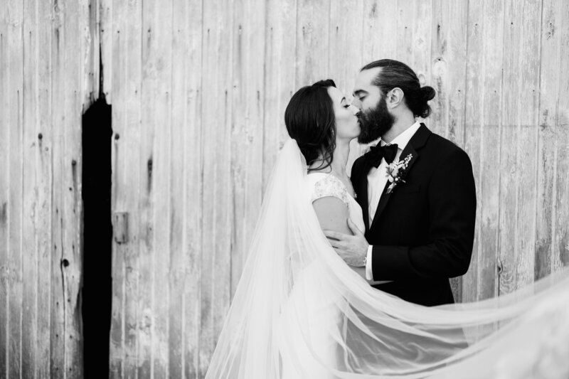 couple kissing with veil