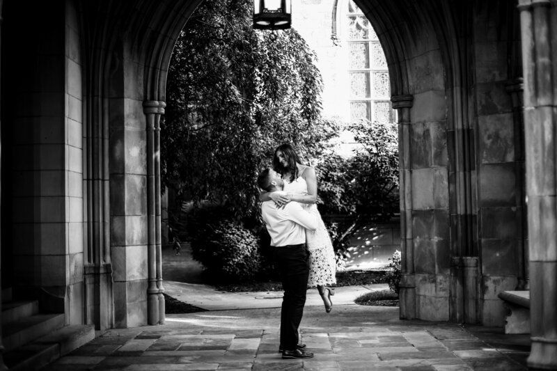 Couple dances under the arch of the First Presbyterian Church of the Covenant