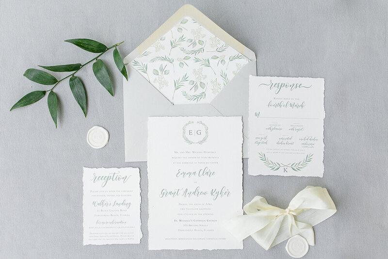 deckled edge wedding invitation silk ribbon greenery 1