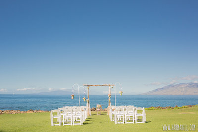 ocean front wedding set up
