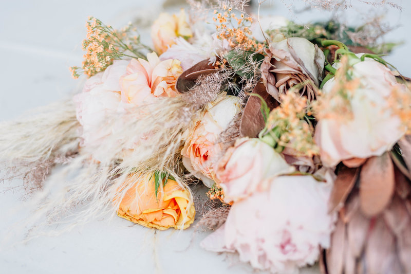 Romantic, bohemian style wedding bouquet