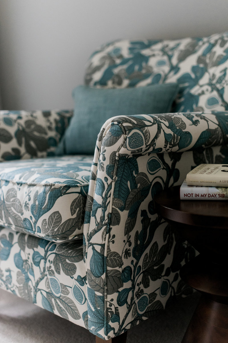 Patterned fabric upholstery country interiors
