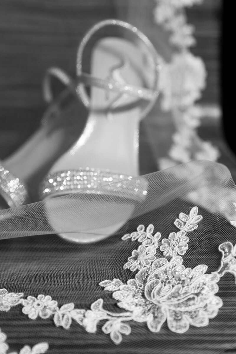 black and white photo of lace shoes