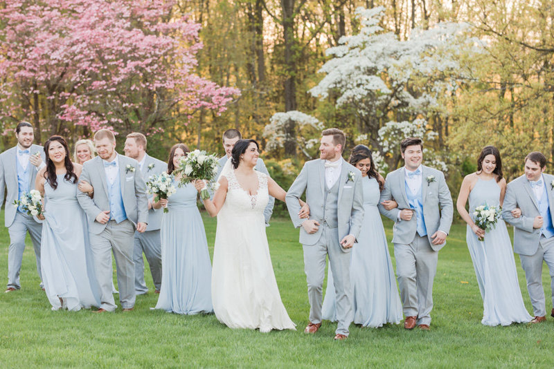 light blue and gray wedding party walking   at Stone House at Stirling Ridge Maryland Wedding by  Costola Photography