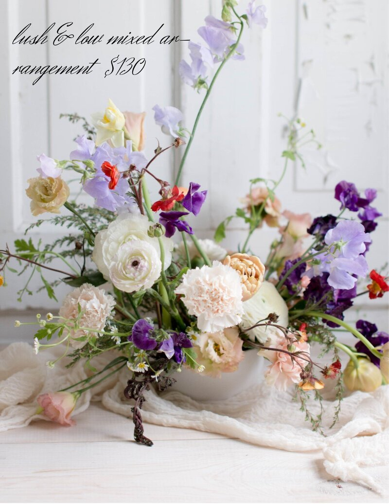 lush & low arrangment Harbor Springs florist