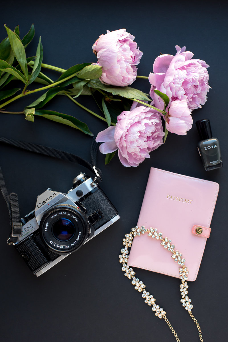 Canon Camera and Pink Peonies