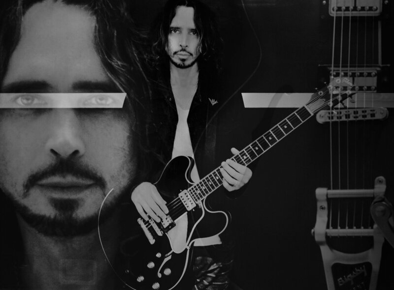 Chris Cornell  photo collage closeup portrait and guitar neck on either side of image of him standing holding Signature ES-335 Gibson Guitar toned black and white