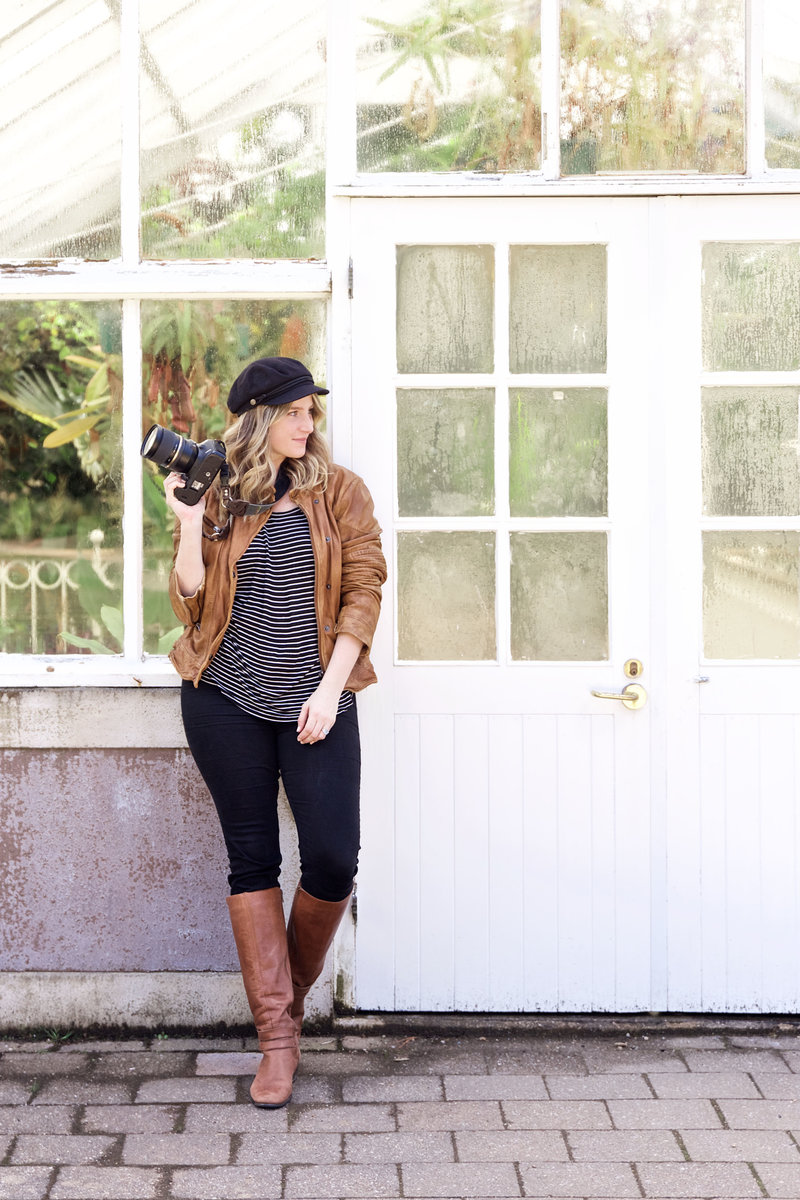 Chelsea Loren Branding Marketing Instagram Photographer in front of Greenhouse