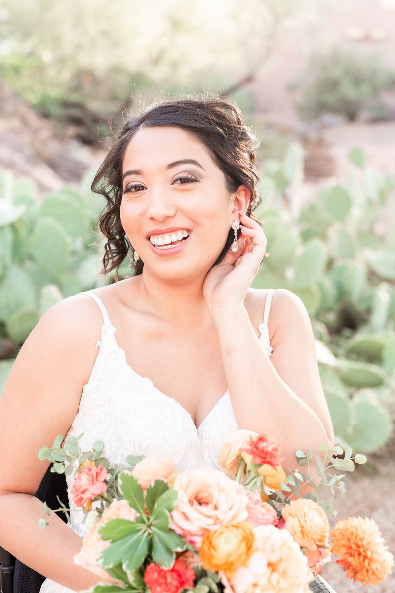 Bright and airy bridal portrait of disabled bride in wheelchair in desert themed wedding in Tempe Phoenix Arizona by Jennifer Marie Studios, Atlanta based wedding photographer