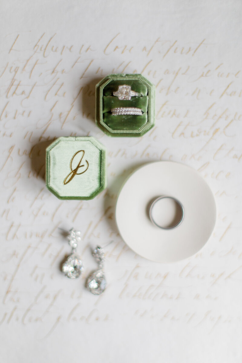 mrs box and wedding rings at French Inspired Private Estate wedding in charlottesville virginia by costola photography