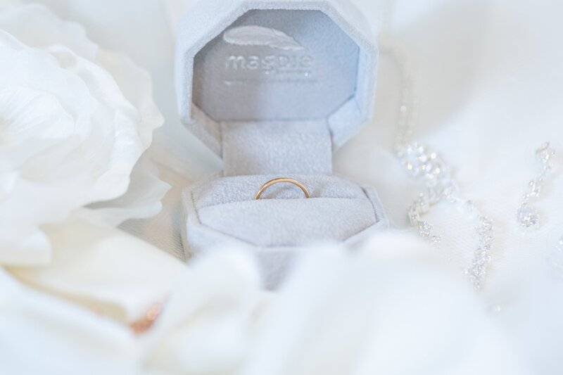 Wedding ring in a grey ring box surrounded by other wedding details