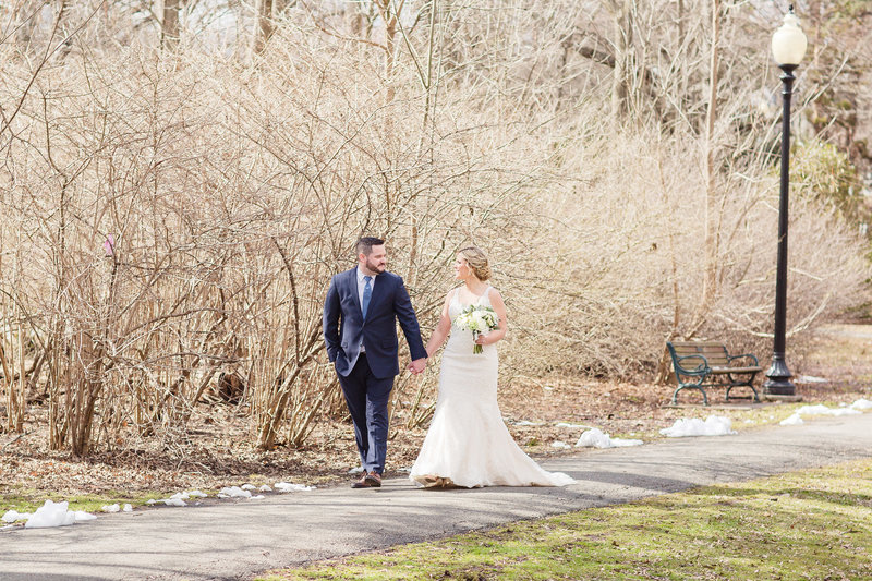 Bride & groom at the park in winter