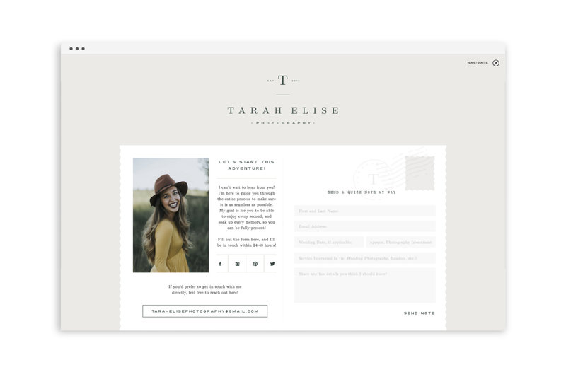 Tarah Elise Photography - With Grace and Gold - Logo Design, Stationery Design, and Web Design for Creative Women in Business - Photo - 2