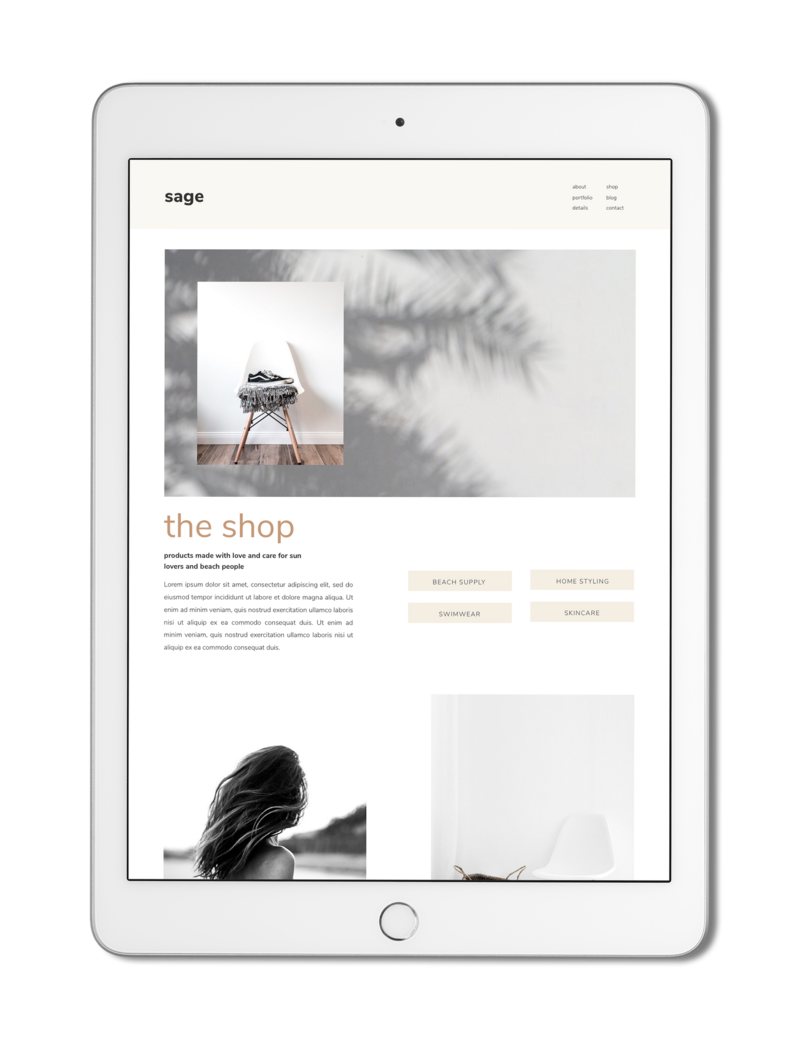 The Roar Showit Web Design Creative Website Business Template Ipad Sage 7